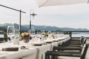 Sommertafel auf der Terrasse unseres Restaurants Bootshaus