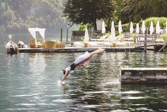 Jump into Lake Traunsee