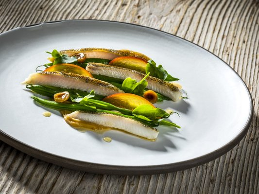 Green bass with green beans, yellow peach and hazelnut miso