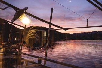 Abendstimmung aus dem Restaurant Bootshaus